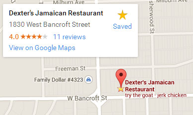 Map to Dexter's Jamaican Restaurant